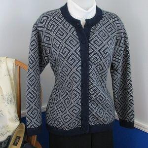 Vintage Aztec Pattern Cardigan Sweater 100% Wool